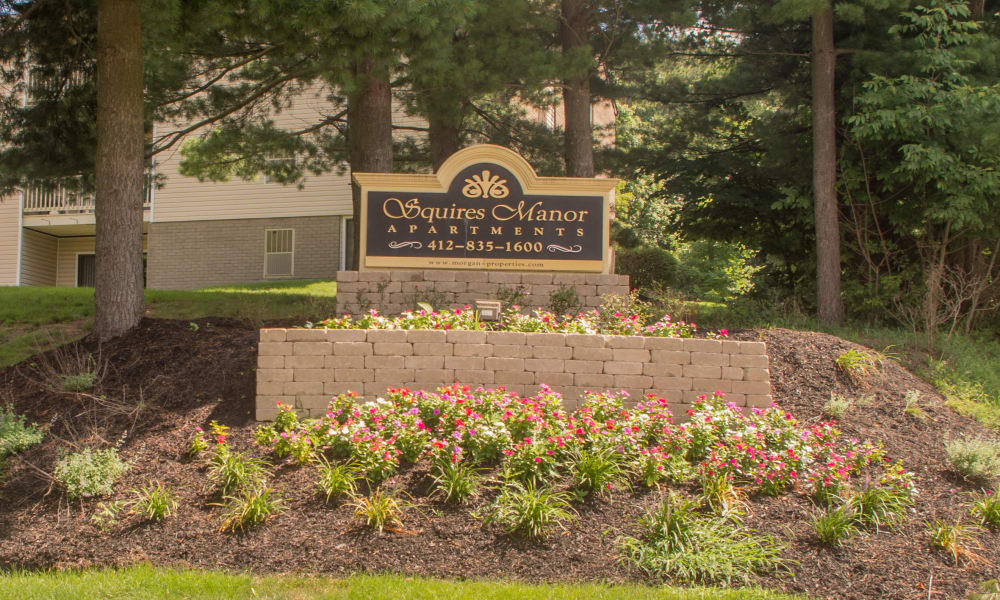 Entrance monument at Squires Manor Apartment Homes in South Park, PA