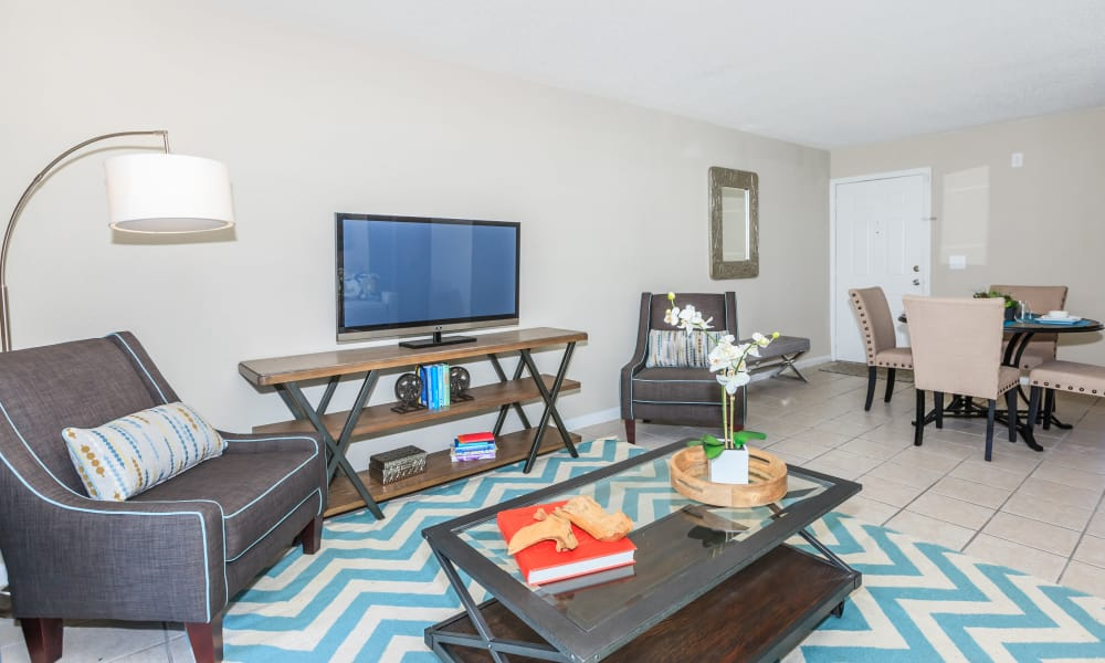 Modern living room at Canopy Creek apartments