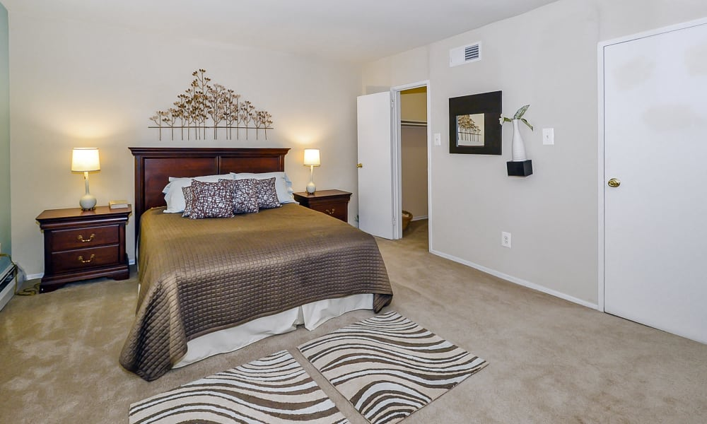 Cozy bedroom at apartments in Philadelphia, Pennsylvania