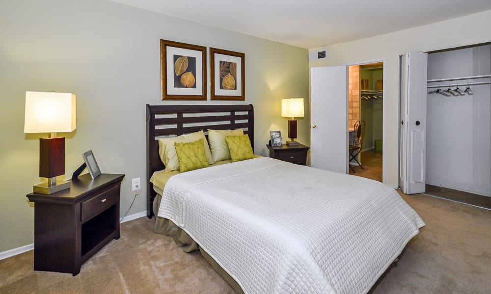 Luxury bedroom at apartments in Philadelphia, Pennsylvania