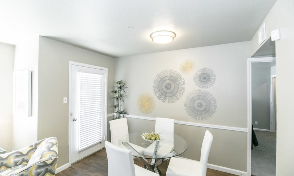 Dining area at 89 East apartments in Tulsa