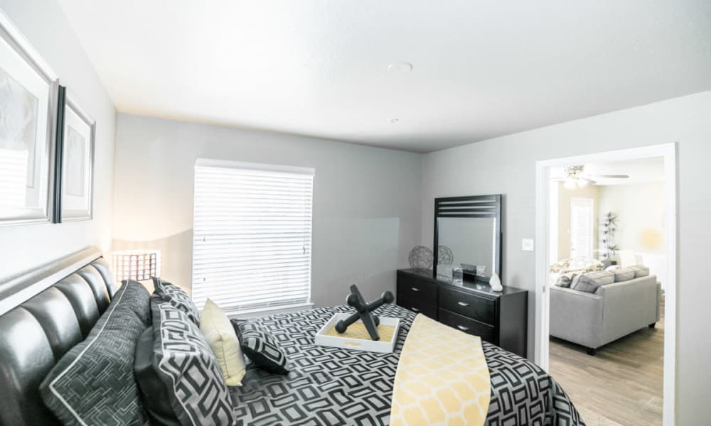 Enjoy a cozy bedroom at 89 East apartments in Oklahoma