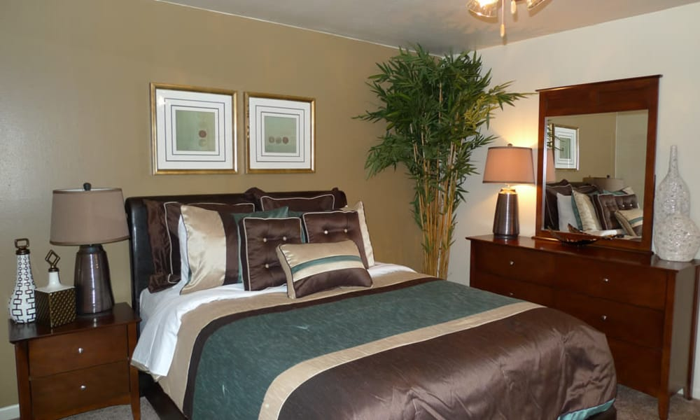 Beautiful bedroom at Residence at River Bend in Shreveport, Louisiana