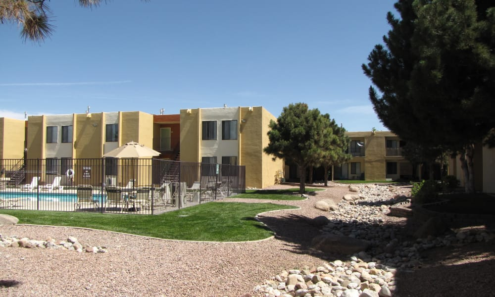 Our apartments in Albuquerque, New Mexico showcase a beautiful swimming pool