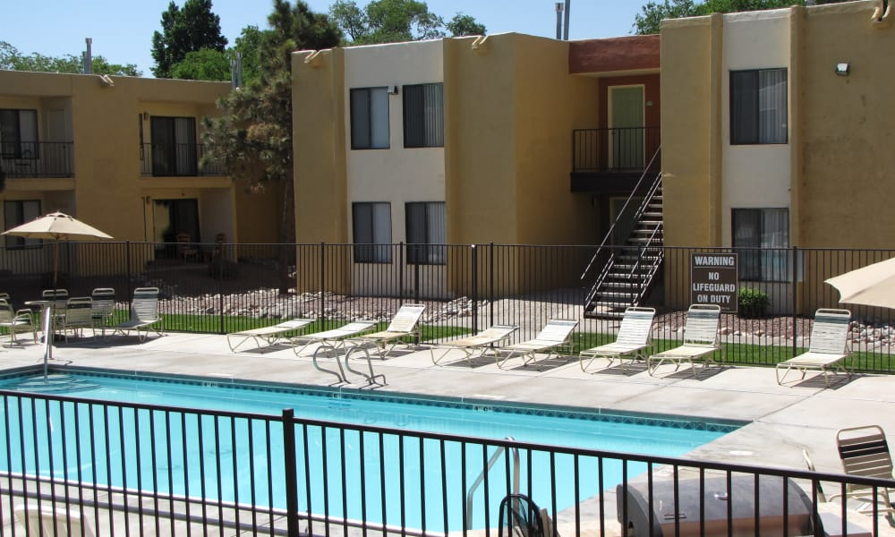 Beautiful swimming pool at apartments in Albuquerque, New Mexico