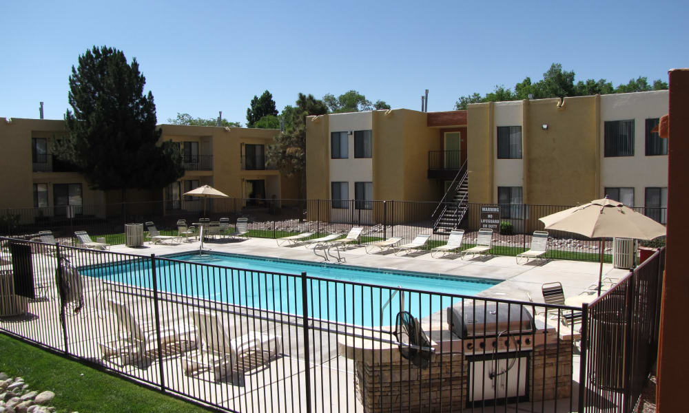 Sage Canyon Apartments offers a beautiful swimming pool in Albuquerque, New Mexico
