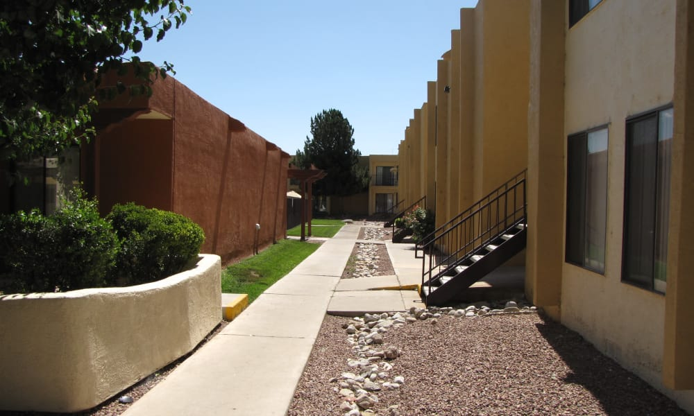 Sage Canyon Apartments offers beautiful walking paths in Albuquerque, New Mexico