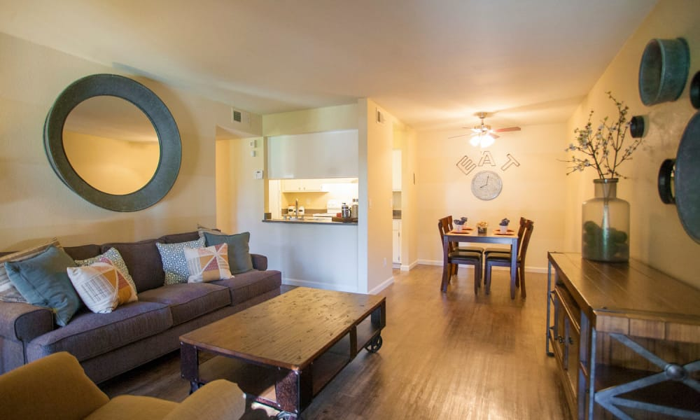 Beautiful living room at Harvest Glen in Rialto, California