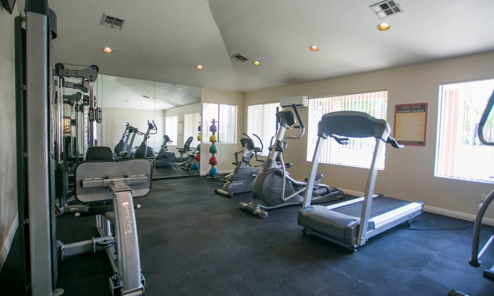 Beautiful fitness center at Harvest Glen in Rialto, California