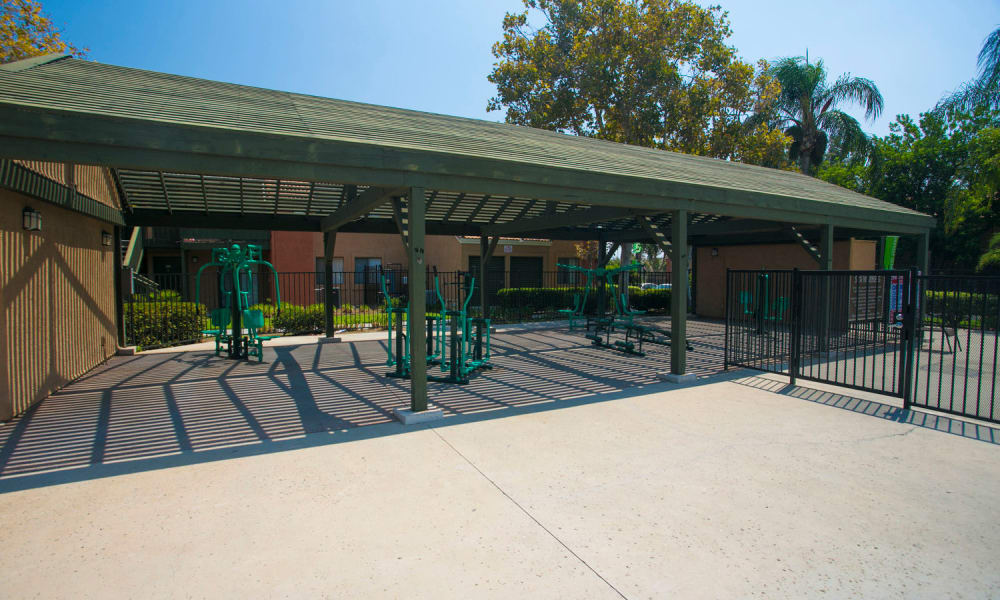 Outdoor fitness area at Harvest Glen Apartments