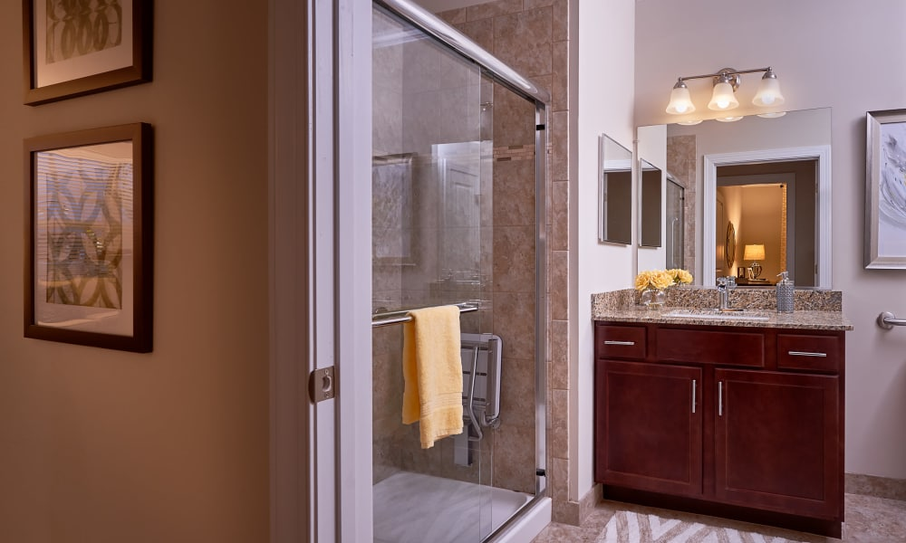 Shower at Waltonwood at Ashburn in Ashburn, VA