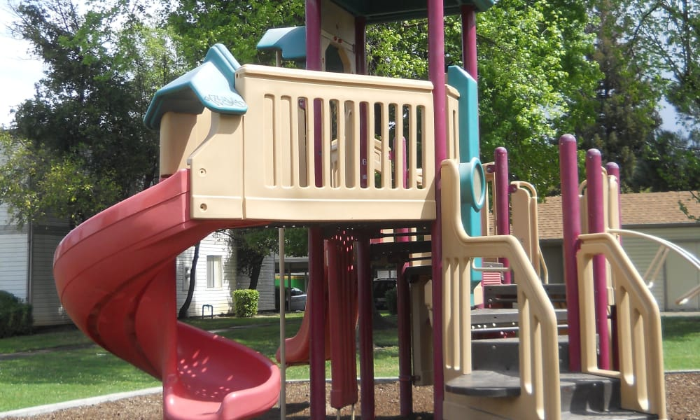 A playground that is great for entertaining at River Court Apartments in Sacramento, CA