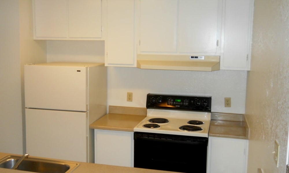 Modern kitchen at River Court Apartments in Sacramento, CA