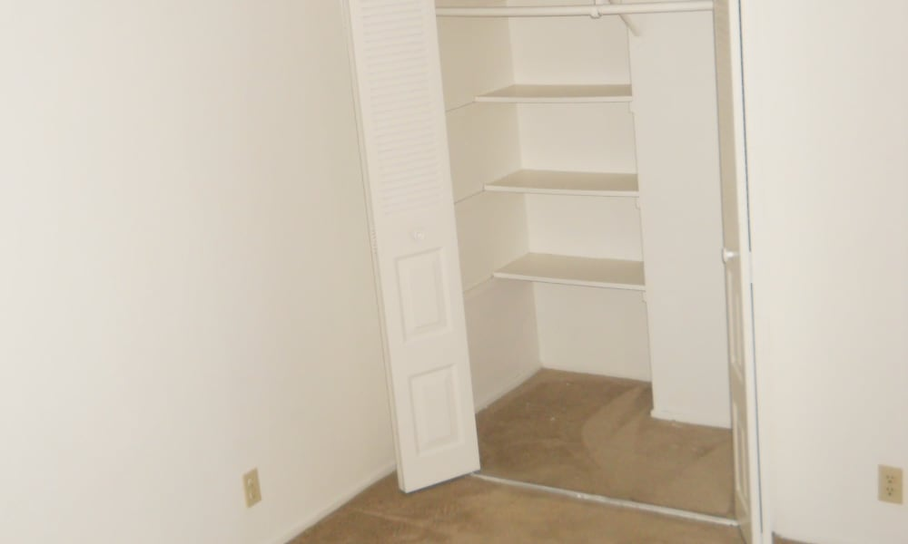 Spacious walk-in closets at River Court Apartments in Sacramento, CA