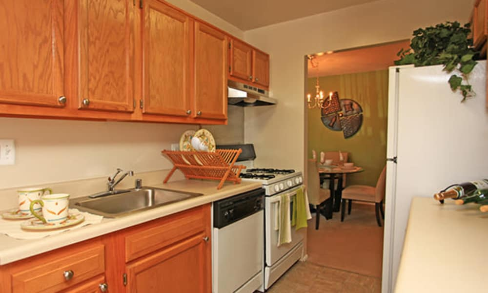 Naturally well-lit kitchen at apartments in Randallstown, Maryland