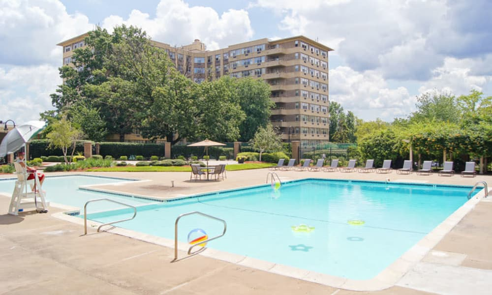 Luxury swimming pool at apartments in Collingswood, New Jersey