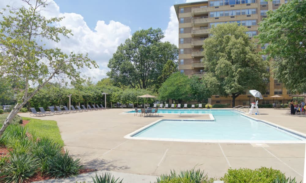 Swimming pool at apartments in Collingswood, New Jersey