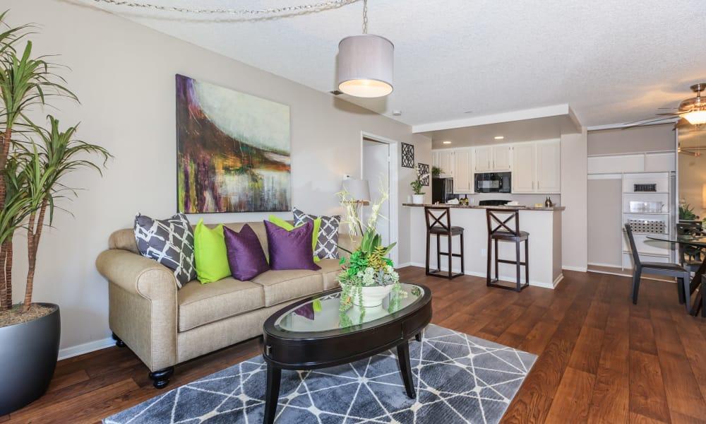 Spacious living room at Parcwood Apartments