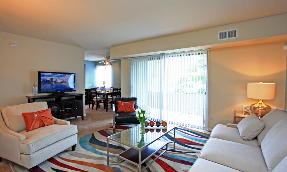 Beautiful living room at Charlesmont Apartment Homes in Dundalk, Maryland