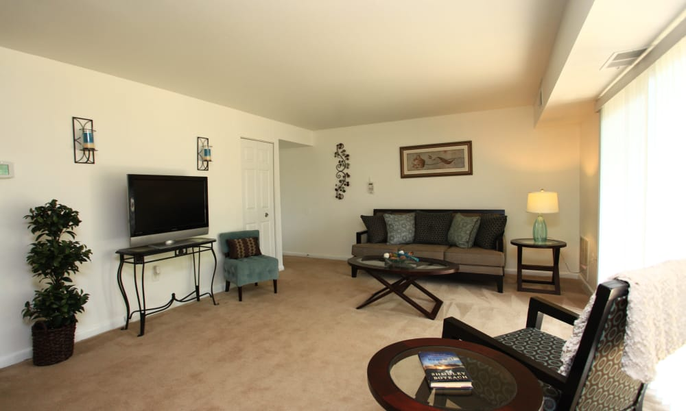 Spacious living room at Gwynn Oaks Landing Apartments & Townhomes in Baltimore, Maryland