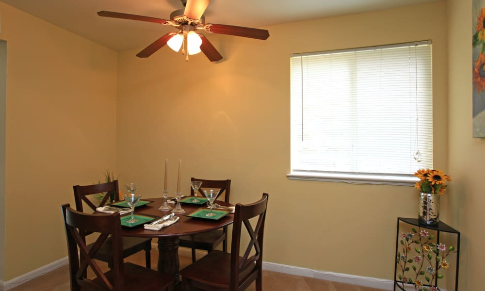 Dining table at apartments in Baltimore, Maryland
