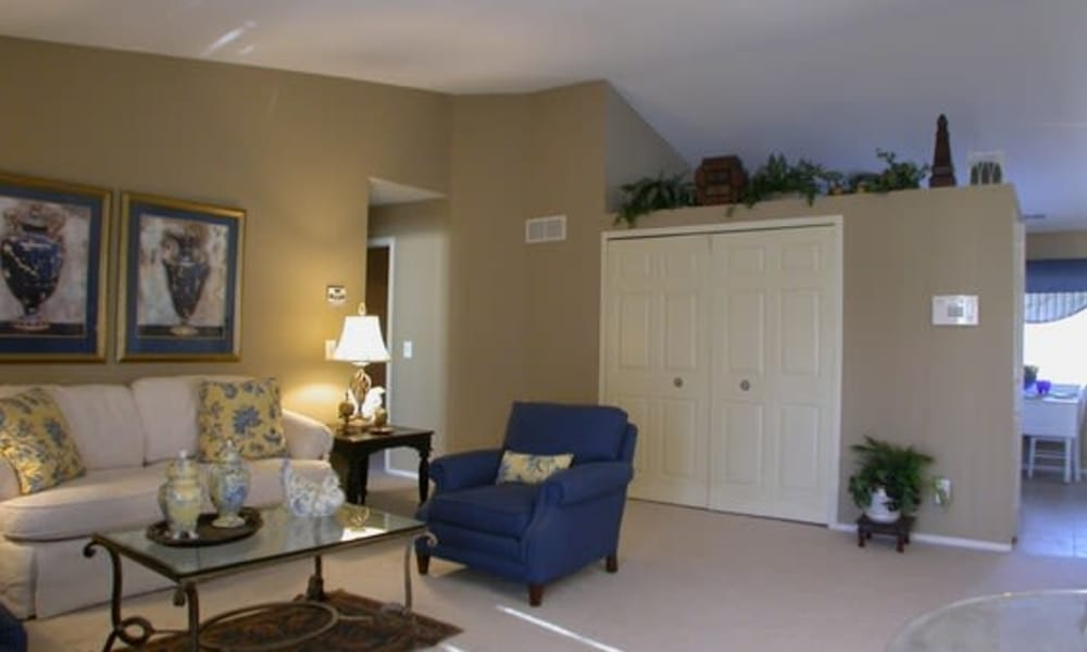 Spacious living room at Amberly apartments