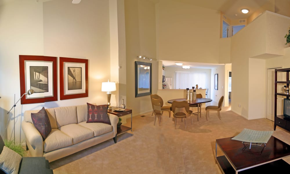 Brownstones apartments in Novi showcase a spacious living room
