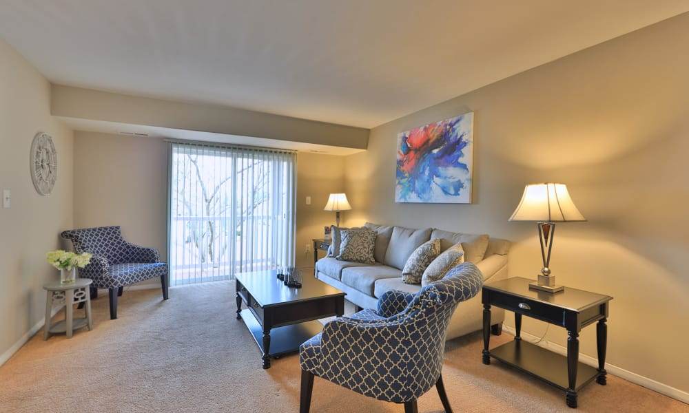 Willowood Apartment Homes offers a naturally well-lit living room in Westminster, MD