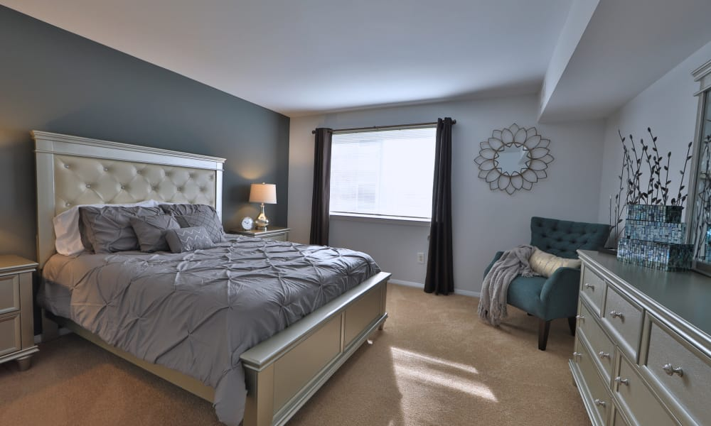 Willowood Apartment Homes offers a naturally well-lit bedroom in Westminster, MD