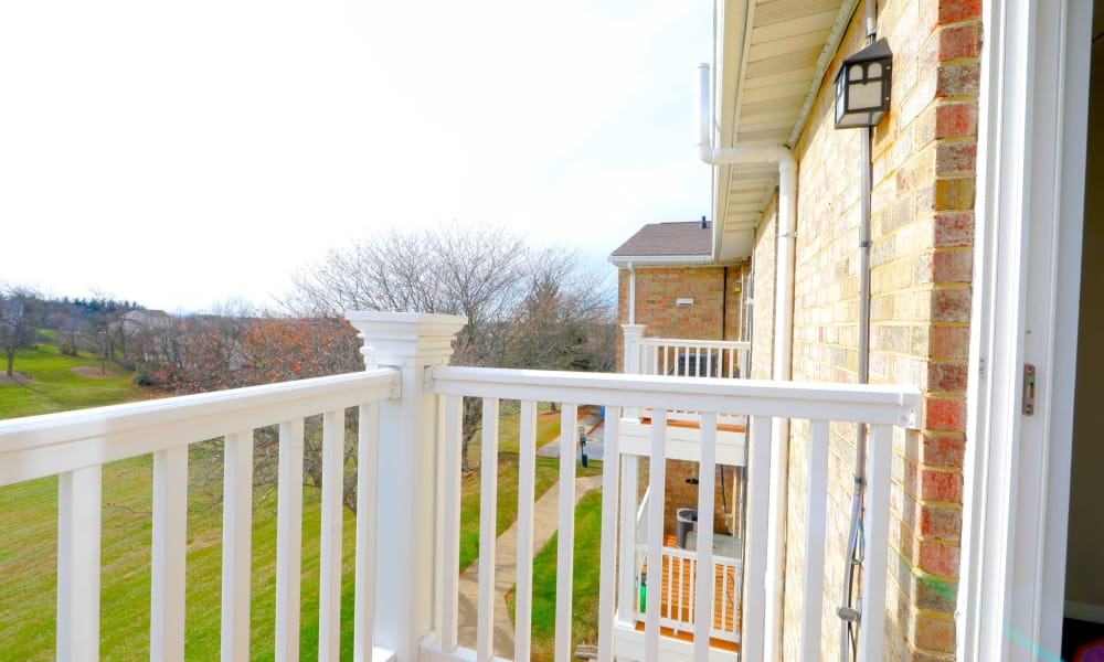 Balcony view at Willowood Apartment Homes in Westminster, MD