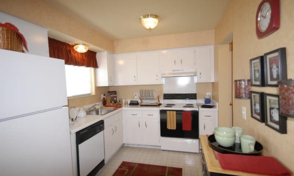Northridge apartment kitchen with white appliances