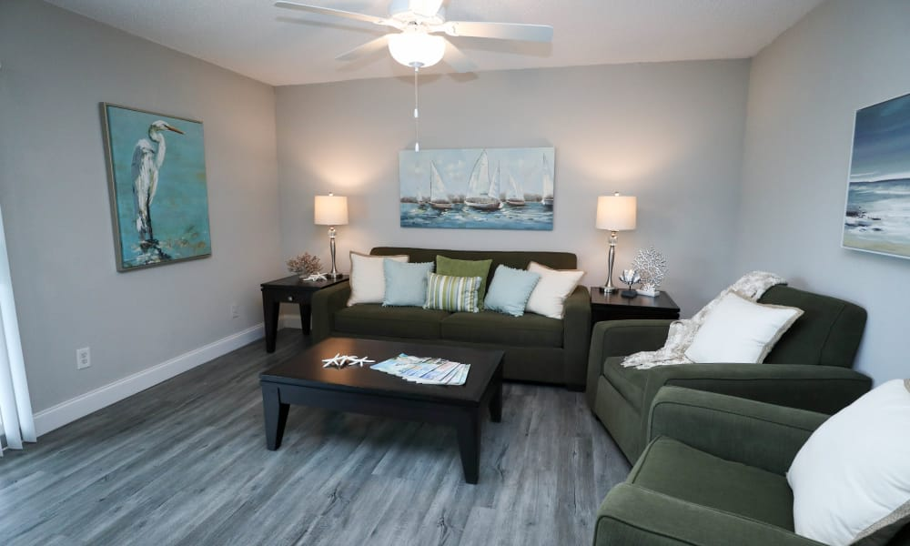 Fully renovated apartment living room at Ridgeview in Seminole, Florida