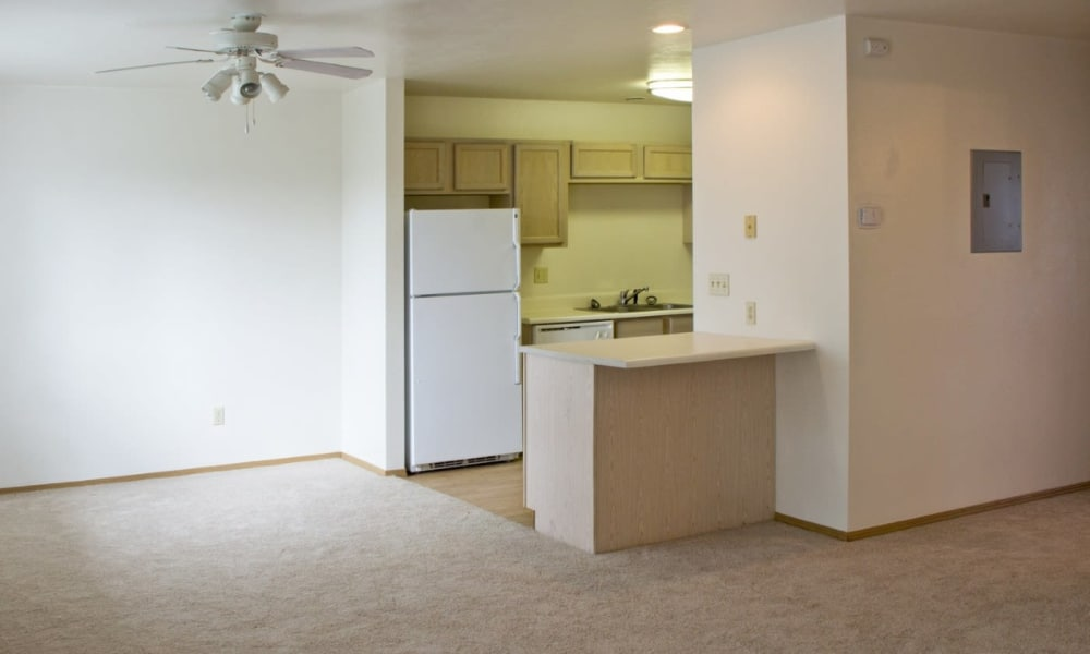 Apartment living room and kitchen interior at Mountain View Apartments