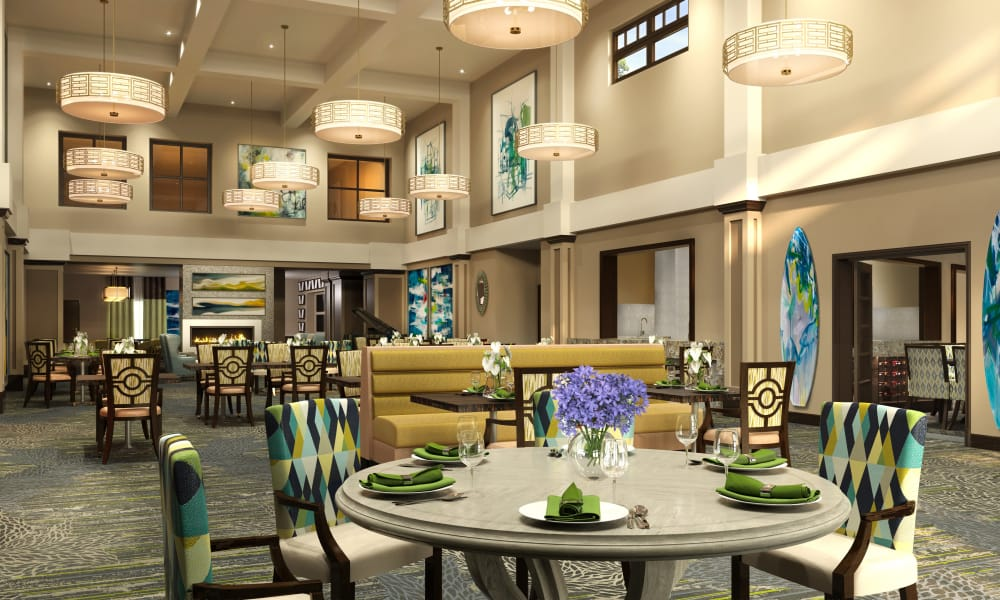 Dining hall at HarborChase of Wellington Crossing in Wellington, Florida