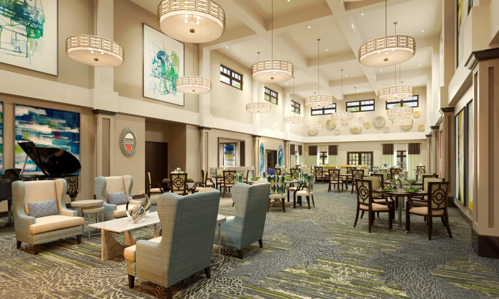 Lounge area at HarborChase of Wellington Crossing in Wellington, Florida