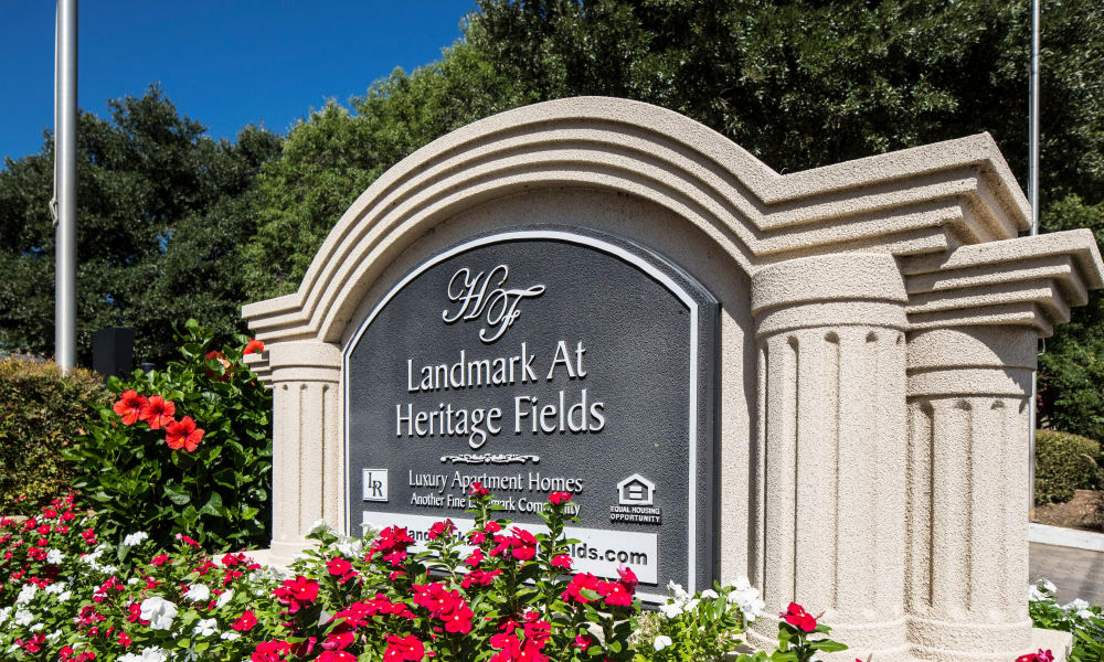 Entrance monument at Heritage Fields in Arlington, TX