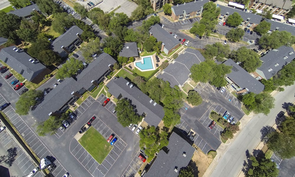 Apartments aerial view at Ridgewood Preserve in Arlington, TX