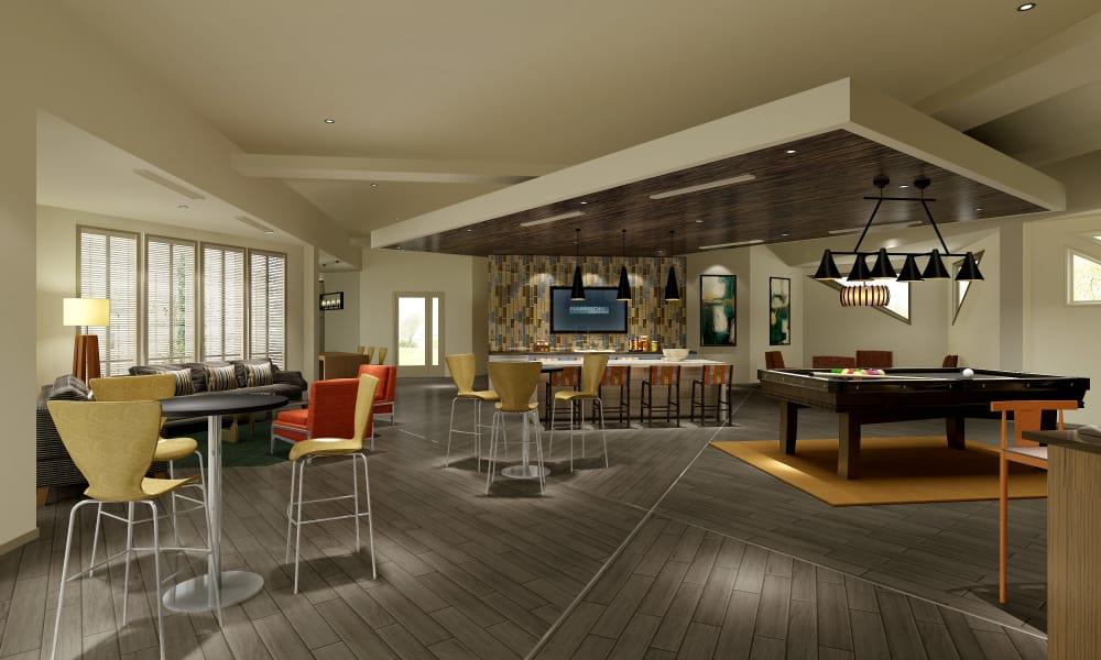 Clubhouse interior at Harrison Grande