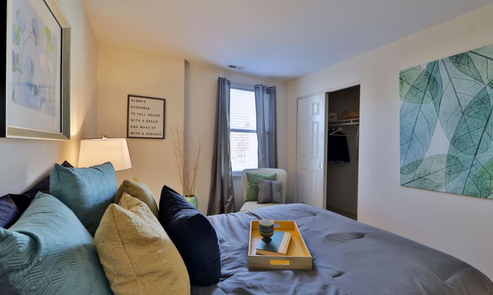 Silver Spring Station Apartment Homes offers a modern bedroom in Baltimore, MD