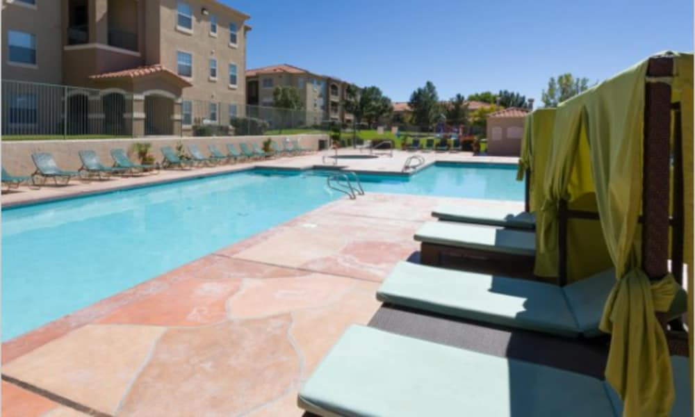 Pool deck at La Ventana Apartment Homes
