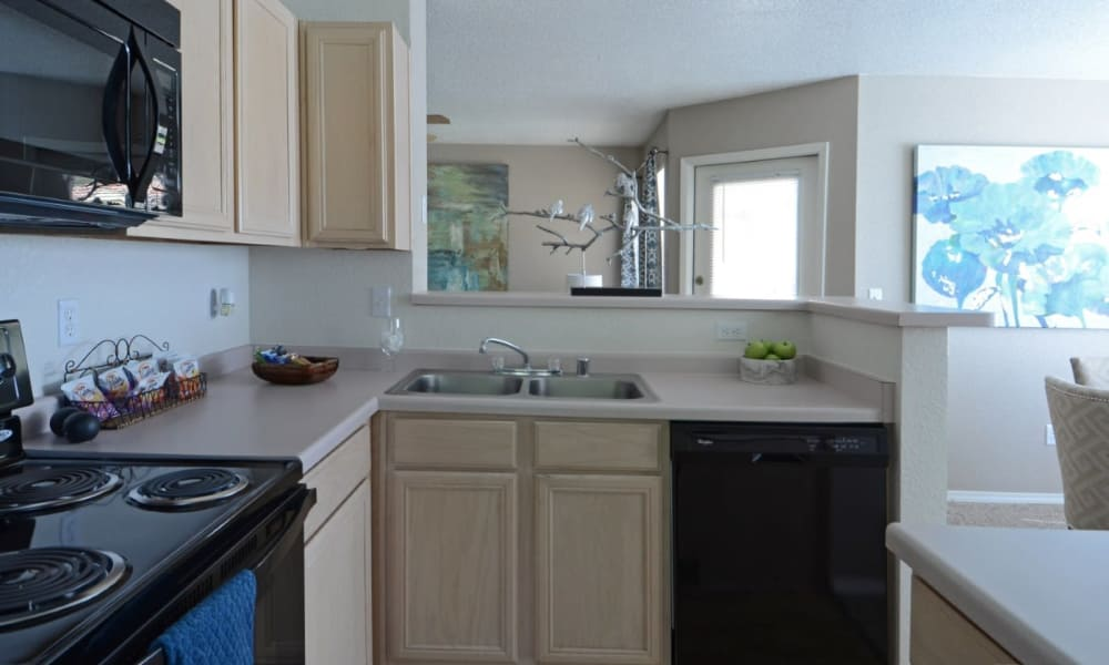 Well-equipped kitchen at La Ventana Apartment Homes