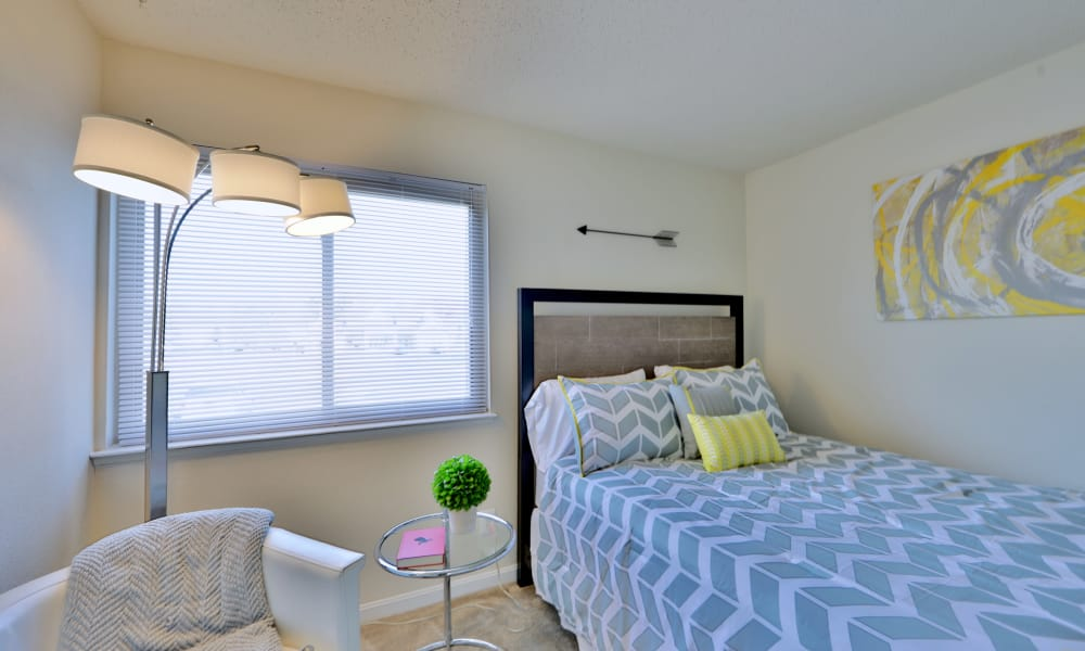 Seneca Bay Apartment Homes offers a naturally well-lit bedroom in Middle River, MD