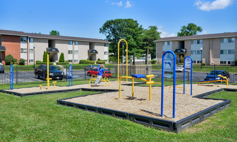 Outdoors health and fitness equipment at Seneca Bay Apartment Homes in Middle River, MD