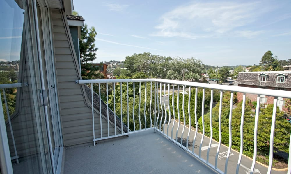 Balcony view at Fraser Tolmie Apartments in Victoria, British Columbia