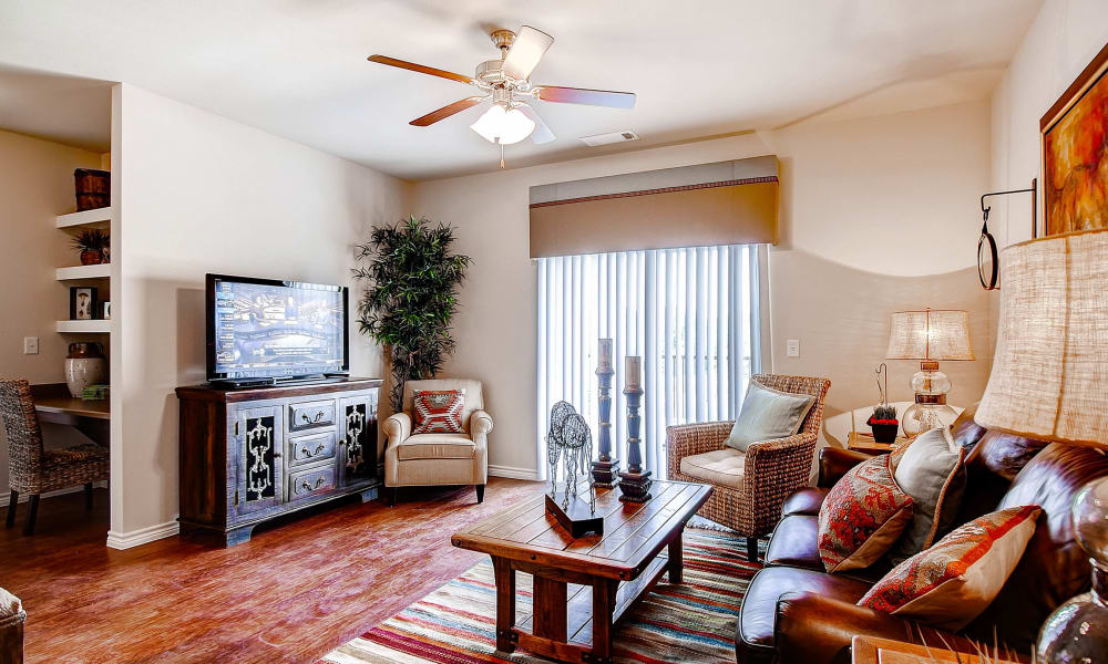 Modern living room at Peaks at Woodmen Apartments