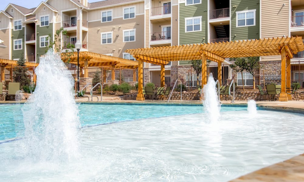A refreshing pool is waiting for you at Peaks at Woodmen Apartments