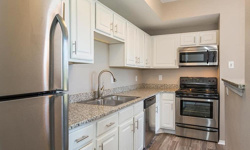 Well-equipped kitchen at Retreat at Cheyenne Mountain Apartments
