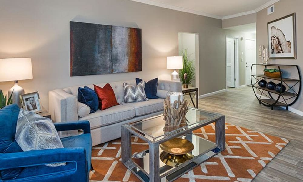 Luxury living room at Retreat at Cheyenne Mountain Apartments