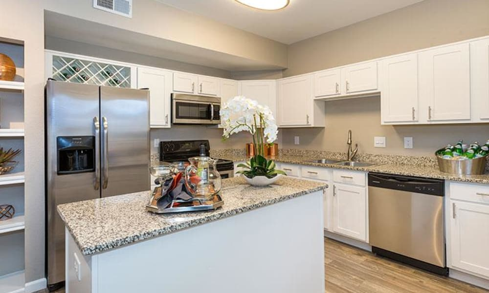 Modern kitchen at Retreat at Cheyenne Mountain Apartments