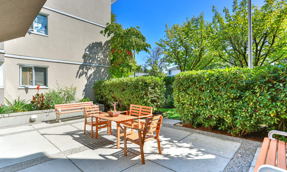 A sunny courtyard at Larchway Gardens in Vancouver, BC